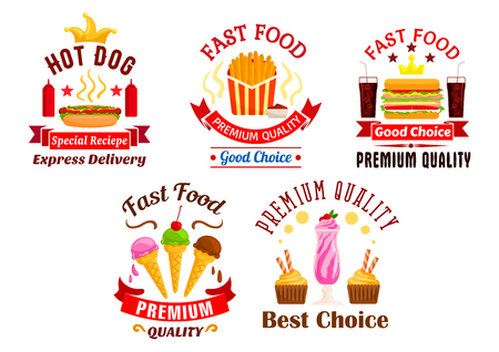 eatery: Fast Food icons set. Snacks, drinks and desserts label. Hot dog, fries, cheeseburger, soda coke, ice cream, milkshake stickers for restaurant menu, eatery delivery, cafe signboard Illustration