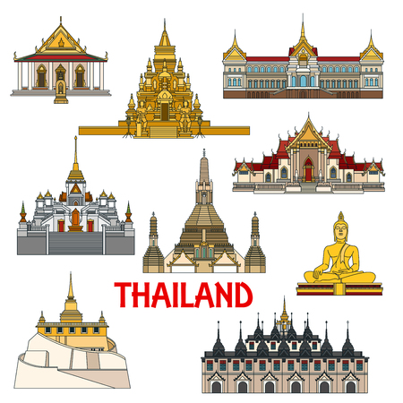 Historic sightseeings and architecture buildings of Thailand. Vector detailed icons of Thai palaces, buddha temples, pagodas. Ratchanadda, Benchamabophit, Arun, Saket, Laem Sor, Traimit, sattahip elements for souvenirs, postcards