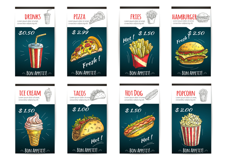 hot dog label: Fast food menu posters with description and price label. Color sketch icons of soda drinks, pizza, fries, hamburger, ice cream, tacos, hot dog, popcorn Illustration