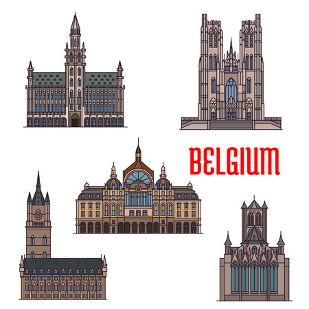 history architecture: Famous historic buildings of Belgium. Vector detailed icons of Belfry of Ghent, St Bavo Cathedral, St Michael Catherdral, Antwerp Central Station. Belgian architecture symbols for print, souvenirs, postcards