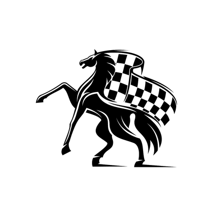 checkered label: Horse with waving checkered flag. Stallion horse race icon. Car races vector label for sport club, bookmaker signboard, team shield, badge