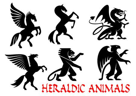 紋章の神話上の動物アイコン。ベクター シルエットのエンブレム。グリフィン、ドラゴン、ライオン、ペガサス、馬のタトゥーの紋章、記章をシー