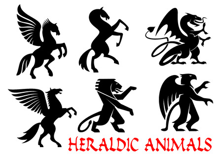 mythical: Heraldic mythical animals icons. Vector silhouette emblems. Griffin, Dragon, Lion, Pegasus, Horse heraldry for tattoo, shield insignia