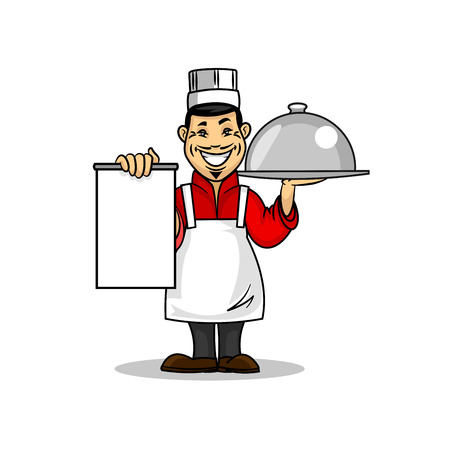 Oriental kitchen restaurant icon. Asian Chef in uniform holding menu card template and dish plate. Vector emblem for signboard, menu, decoration