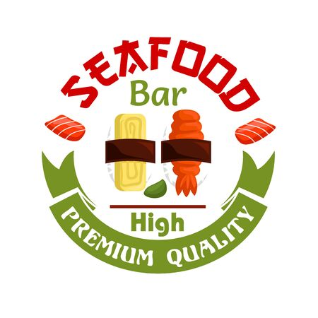 eatery: Japanese Seafood bar icon. Sushi and wasabi with green ribbon. Oriental cuisine design for restaurant, eatery and menu. Advertising sticker for door signboard, poster, leaflet, flyer