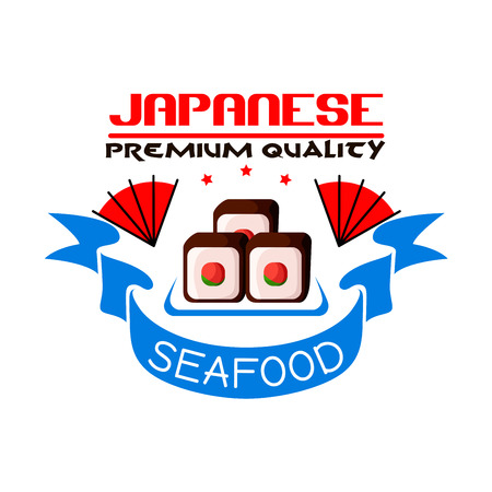eatery: Japanese seafood restaurant icon. Sushi rolls, blue ribbon, stars. Oriental cuisine design for restaurant, eatery and menu. Advertising sticker for door signboard, poster, leaflet, flyer