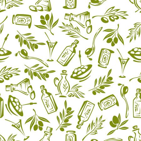 Olijven takken met bladeren en olijfolie naadloze achtergrond. Vector decor elementen voor behang, keuken tafelkleed, wrapper, restaurant decoratie
