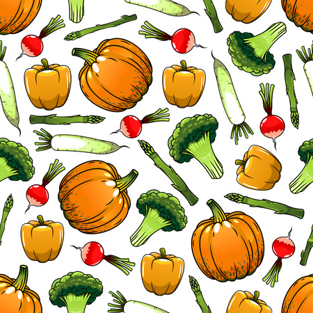 food market: Vegetables seamless background. Wallpaper with vector pattern of fresh vegetarian farm food pepper, paprika, radish, pumpkin, broccoli for grocery store, food market and product shop, tablecloth
