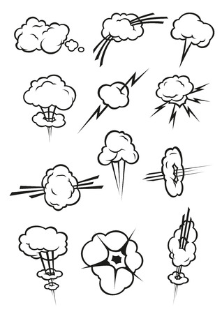 vapor trail: Cloud icons in cartoon comic book style. Isolated cumulus clouds outline in various shapes and forms of smoke puff, steam vapor, fume, explosion, thunderbolt