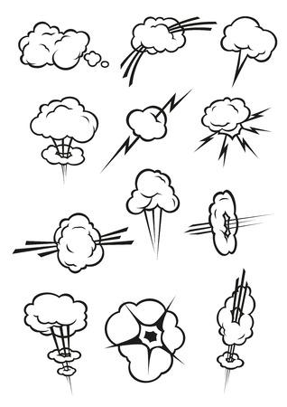 Cloud pictogrammen in cartoon comic book-stijl. Geïsoleerde stapelwolken schets in verschillende soorten en vormen van rook rookwolk, stoom damp, rook, explosie, blikseminslag