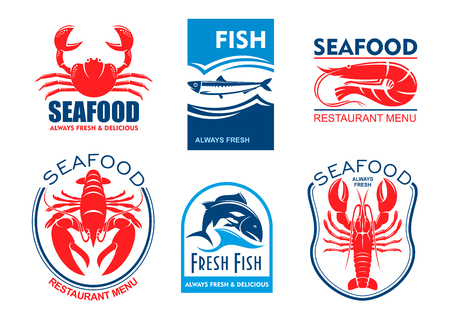 herring: Seafood products icons. Vector emblems set for product sticker, company label, restaurant menu. Graphic symbols of crab, herring, shrimp, lobster, tuna fish Illustration