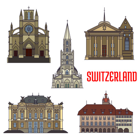 basilica: Historic buildings icons of Switzerland. Notre Dame Basilica, St. Pierre Cathedral, Lucerne Town Hall, Zurich Opera House, Bern Minster. Swiss showplaces symbols for print, souvenirs, postcards, t-shirts