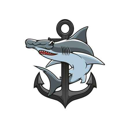 hammerhead: Hammer-head Shark and Anchor icon. Heraldic emblem. Vector nautical shield for heraldry template, t-shirt, shield sign