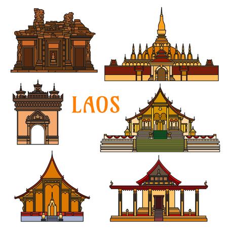 Edifici storici del Laos. Pha That Luang, Sisaket, Vat Phou, Patuxai arco, Wat Xieng Thong, Iva Sene Souk Haram. Vientiane showplaces icone per souvenir, cartoline, t-shirt Archivio Fotografico - 62639681