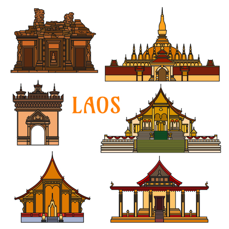 Historic buildings of Laos. Pha That Luang, Sisaket, Vat Phou, Patuxai Arch, Wat Xieng Thong, Vat Sene Souk Haram. Vientiane showplaces icons for souvenirs, postcards, t-shirts