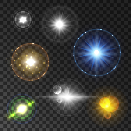 outburst: Shining star and sun light set with lens flare effect. Twinkling flash sparkles on transparent background