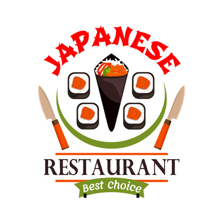 eatery: Japanese food restaurant icon. Sushi, spring rolls, knives. Oriental cuisine label for bar, eatery menu. Advertising sticker for door signboard, poster, leaflet, flyer Illustration