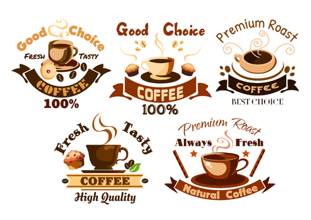 coffee and cake: Coffee icons set. Hot coffee cups, cappuccino, latte, macchiato, frappe with desserts, muffins and cupcakes. Template for cafeteria menu, cafe signboard, fast food poster