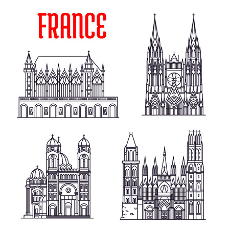 abbey: Historic buildings of France. Vector thin line icons of Marseilles Cathedral, Rouen Cathedral, Saint-Ouen Abbey Church, Sainte-Chapelle. French showplaces for print, souvenirs, postcards, t-shirts