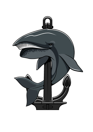 cachalot: Cachalot whale and Anchor shield. Nautical heraldic icon for t-shirt, sport team mascot shield