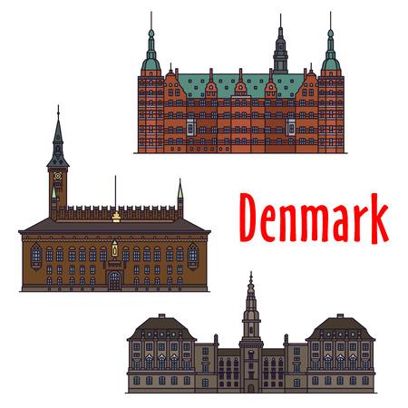 historic: Historic buildings and architecture of Denmark. Christiansborg Palace, Frederiksborg Castle, Copenhagen City Hall. Danish showplaces detailed icons for print, souvenirs, postcards, t-shirts Illustration