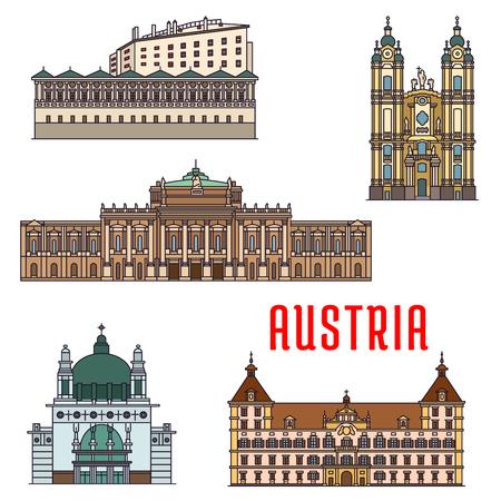 abbey: Historic buildings of Austria. Vector architecture icon of Burgtheater, Eggenberg Palace, Melk Abbey, Ambras Castle, Kirche am Steinhof for souvenirs, postcards, t-shirts