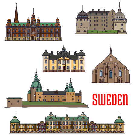 Historic architecture landmarks icons of Sweden. Showplaces detailed icons of Vadstena Abbey, Malmo Town Hall, Kalmar, Orebro, Stromsholm Castle, Drottningholm Palace for print, souvenirs, postcards, decoration Illustration