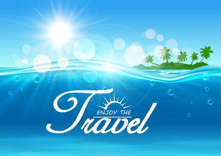 Enjoy Travel poster. Summer vacation background with ocean water, shining sun, tropical palm island. Template for resort banner, advertising agency placard, greeting card