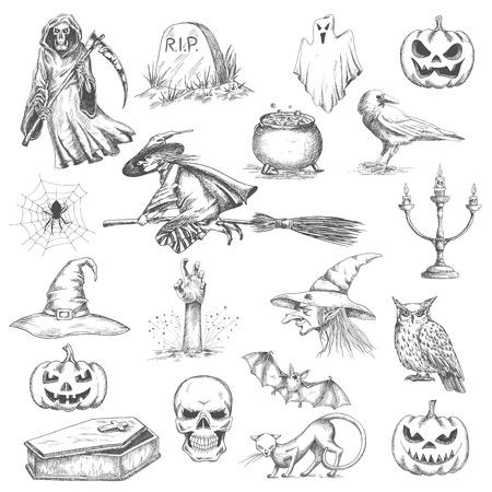 Horror Dekorationselemente Für Halloween-Design. Hexenhut, Magischen ...