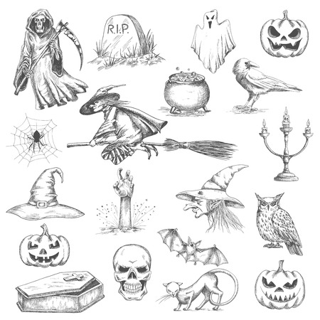 flying hat: Halloween pencil sketch decorative icons. Vector isolated design elements of witch in hat flying on besom, frightening pumpkin, death with scythe, tomb stone, bedsheet ghost, coffin, evil skull with scary smile