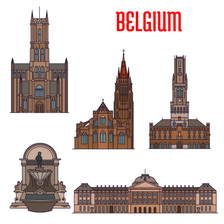 Famous historic buildings and landmarks of Belgium. Detailed icons of Manneken Pis, Royal Palace, Belfry of Bruges, Church of Our Lady, St Bavo Cathedral. Belgian symbols for souvenirs, postcards