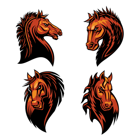 brave of sport: Furious horse head heraldic icons set in fire shape. Raging stallion vector heraldry emblems. Mustang shield symbol for sport club emblem, team badge, label and tattoo Illustration