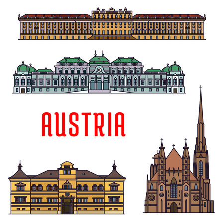 abbey: Historic buildings and sightseeing landmarks of Austria. Vector detailed icons of Schonbrunn Palace, St. Stephen Cathedral, Belvedere, Hellbrunn Palace. Austrian showplaces for souvenirs, postcards
