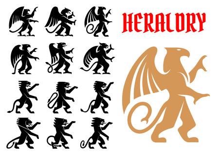 紋章の神秘的な動物のアイコンを設定します。ベクトル紋章エンブレム シルエットのグリフィン、ドラゴン、ライオン、ペガサス、入れ墨、馬シー  イラスト・ベクター素材