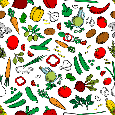 seasonings: Vegetable salad ingredients, seasonings, spices. Seamless wallpaper background with cucumber, pepper, radish, tomato potato garlic carrot corn onion