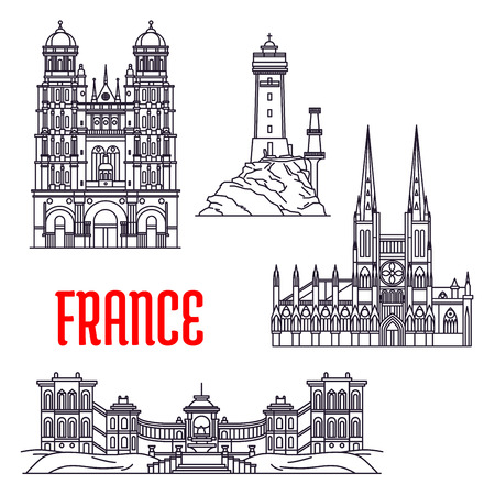 Historic landmarks, sightseeings and buildings of France. Vector thin line icons of Tevennec Lighthouse, Saint-Michel de Dijon, Bordeaux Cathedral, Palais Longchamp