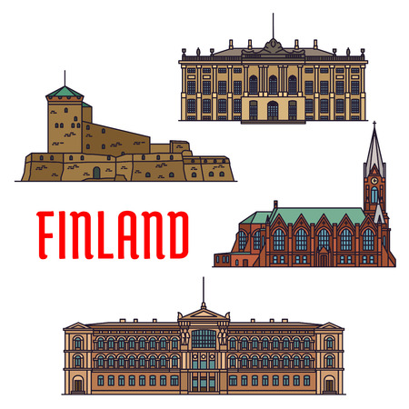finnish: Historic architecture landmarks of Finland. Detailed icons of Suomenlinna, Sveaborg, Kotkan Church, Ateneum Museum, Amalienborg Palace. Finnish showplaces and sightseeing symbols for souvenirs, postcards Illustration