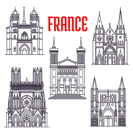 Historic architecture buildings of France. Thin line icons of St. Peter Basilica, Reims Cathedral, Notre-Dame de Fourviere, Saint-Nizier Church, Dijon Cathedral Illustration