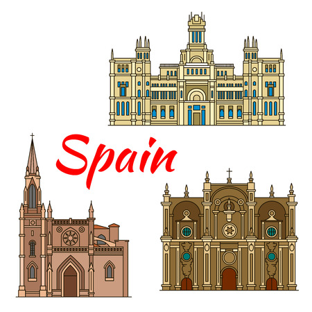 santiago: Famous historic buildings and landmarks of Spain. Detailed architecture icon of Cibeles Palace, Santiago Cathedral, Granada Cathedral. Symbols for souvenirs, postcards Illustration
