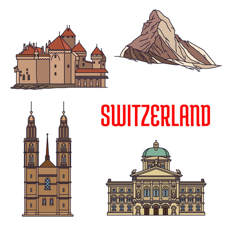 Historic architecture buildings of Switzerland. Detailed icons of Federal Palace, Matterhorn, Chillon Castle, Grossmunster. Swiss showplaces and landmark symbols for souvenirs, postcards