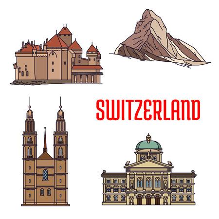 Historische architectuur gebouwen van Zwitserland. Gedetailleerde pictogrammen van Federal Palace, Matterhorn, Chillon Castle, Grossmunster. Swiss showrooms en landmark symbolen voor souvenirs, ansichtkaarten