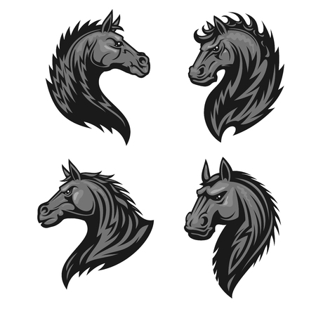 Raging stallion head heraldic icons set. Stylized furious horse vector heraldry emblems. Mustang shield symbol for sport club emblem, team badge, label and tattoo Illustration