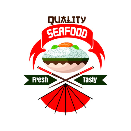 fresh seafood: Fresh and tasty seafood. Japanese quality restaurant emblem. Bowl with rice, salmon fish sashimi, chopsticks. Oriental cuisine poster for menu card, signboard, leaflet, flyer Illustration