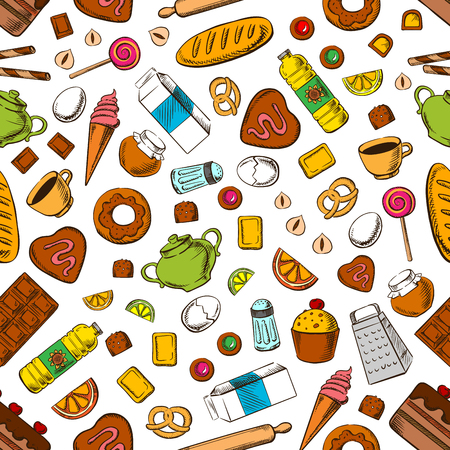 ice tea: Daily meal seamless background. Wallpaper with pattern of breakfast cookies, biscuits, cakes, coffee, tea, ice cream, cooking utensils and accessories