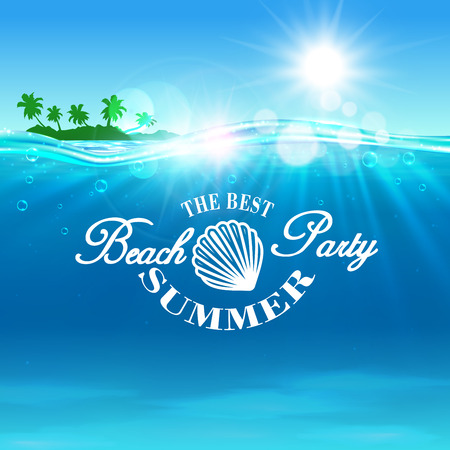 ocean background: Beach Party poster. Summer travel postcard background with ocean water, shining sun, tropical palm island and shell outline. Template for banner, advertising agency flyer, greeting card Illustration