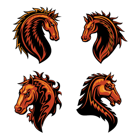 adorned: Fire horse head mascot with brown wild mustang stallion, adorned by ornaments of curly fire flames. Sporting team or club symbol design