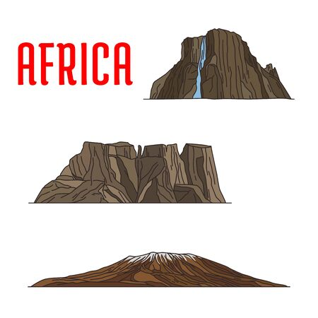 cliffs: Travel landmarks of Africa thin line icon. Famous african natural landmarks with linear Kibo summit of Kilimanjaro mountain, Drakensberg or Dragons mountains and Tugela Waterfall