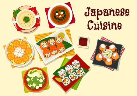 wasabi: Japanese cuisine dinner icon with sushi rolls with caviar and sesame, wasabi and soy sauce, salmon rolls, shiitake and seaweed soup, spinach chicken soup, fried wontons with shrimp, tofu soup