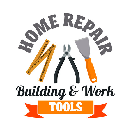 hardware tools: Building and work tools for home repair symbol with spatula, pliers and measuring tape, framed by ribbon banner. Building service or hardware shop design