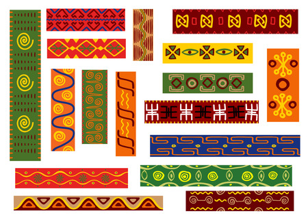 African ethnic ornament set with geometric and floral patterns. Fabric print, tribal embellishment and interior accessory design